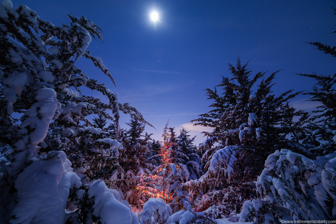 december 21 2012 christmas lights moon and snow covered. Black Bedroom Furniture Sets. Home Design Ideas